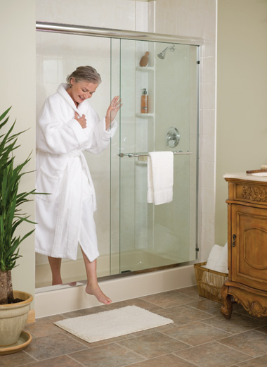 Woman Stepping Out of Shower