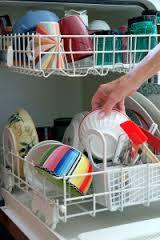 Woman Removing Clean Dinnerware From Dishwasher