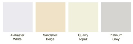 Alabaster White, Sandshell Beige, Quarry Topaz, Platinum Grey