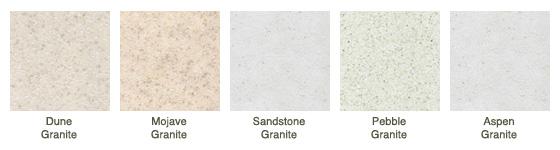 Dune Granite, Mojave Granite, Sandstone Granite, Pebble Granite, Aspen Granite