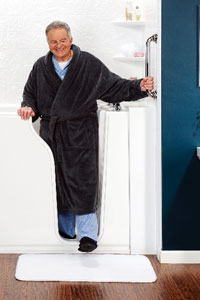 Senior Male Stepping Out of Walk-In Tub